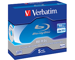 Blu-Ray Verbatim BD-R DL 6× 50GB White Blue Surface Scratch Guard Plus 5 pack JC (Double Layer)