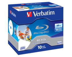 DVD Blu-Ray Verbatim BD-R DL 6× 50GB Wide Printable No ID Surface Hard Coat 10 pack JC (Double Layer)