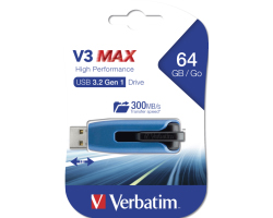 Verbatim USB3.0 Store'n'Go V3 64GB Max High Performance USB Drive (R/W: 175/80MB/sec)