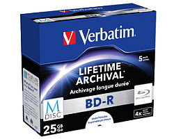 Blu-Ray M-Disc Verbatim BD-R SL 25GB 4× Printable 5 pack JC (Single Layer)