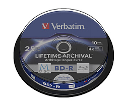 DVD Blu-Ray M-Disc Verbatim BD-R SL 25GB 4× Printable 10 pack spindle (Single Layer)