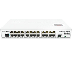 Mikrotik Cloud Router Switch CRS125-24G-1S-2HnD-IN, Atheros AR9344 CPU, 128MB RAM, 24xG-LAN, 1xSFP, RouterOS L5, LCD panel, 2.4Ghz 802.11b/g/n, desktop kućište, PSU
