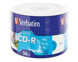CD-R Verbatim 700MB 52× DataLife WIDE INKJET PRINTABLE 50 pack wrap
