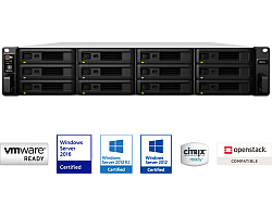 Synology RS2418RP+ RackStation 12-bay NAS server, Intel Atom Quad Core 2.1GHz, 4GB DDR4, Hot-Swap HDD, 4×G-LAN, Link Aggregation, Wake on LAN/WAN, Redundant Power Supply