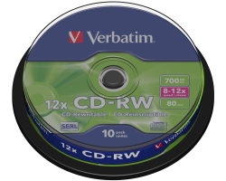 CD-RW Verbatim 700MB 8-12× DataLife Plus 10 pack spindle