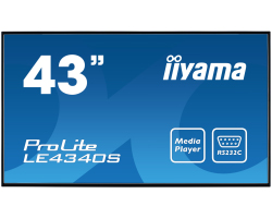 "IIYAMA 43"" ProLite LE4340S-B1 16:9 Full HD (1920×1080) AMVA3 LED, 12/7, 8ms, VGA/ DVI/HDMI/Component video, RS232C/RJ45/IR, USB2.0, zvučnici, crni"