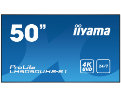"IIYAMA 50"" ProLite LH5050UHS-B1 16:9 UHD 4K (3840×2160) AMVA3 LED, 24/7, 8ms, Component video/DP/HDMI×3, RS232/RJ45/IR, USB×3, zvučnici, crni"