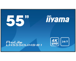 "IIYAMA 55"" ProLite LH5550UHS-B1 16:9 UHD 4K (3840×2160) AMVA3 LED, 24/7, 8ms, Component video/DP/HDMI×3, RS232/RJ45/IR, USB×3, zvučnici, crni"