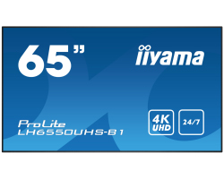 "IIYAMA 65"" ProLite LH6550UHS-B1 16:9 UHD 4K (3840×2160) AMVA3 LED, 24/7, 8ms, Component video/DP/HDMI×3, RS232/RJ45/IR, USB×3, zvučnici, crni"