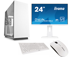 "Cratos Office White MT 400W, Intel i3-9100, 8GB DDR4, 240GB SSD, Intel UHD, FreeDos + tipkovnica/miš + 24"" Iiyama Monitor"
