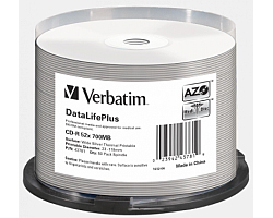 CD-R Verbatim 700MB 52× DataLife+ Wide THERMAL SILVER PRINTABLE (No ID) 50 pack spindle
