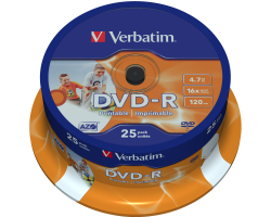 DVD-R Verbatim 4.7GB 16× Wide Photo PRINTABLE 25 pack spindle