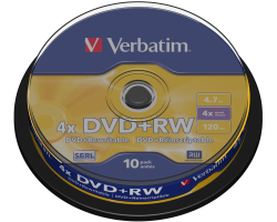 DVD+RW Verbatim 4.7GB 4× Matt Silver 10 pack spindle